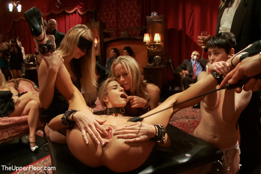 Blonde Latex Slut Gangbang