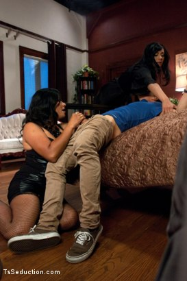 Photo number 2 from A Classic Three's Company Mix-up Porn shot for TS Seduction on Kink.com. Featuring Vaniity, Corbin Dallas and Beretta James in hardcore BDSM & Fetish porn.