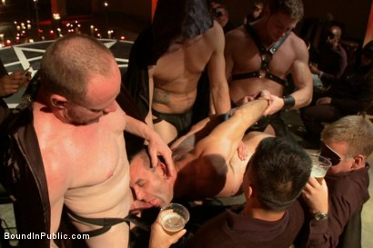 Photo number 12 from Horny Crowd Torments Bound Muscled Stud for BIP's Pre-Halloween Party shot for Bound in Public on Kink.com. Featuring Christian Wilde, Jason Miller, Connor Maguire and Big Red in hardcore BDSM & Fetish porn.