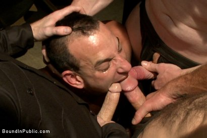 Photo number 4 from Horny Crowd Torments Bound Muscled Stud for BIP's Pre-Halloween Party shot for Bound in Public on Kink.com. Featuring Christian Wilde, Jason Miller, Connor Maguire and Big Red in hardcore BDSM & Fetish porn.