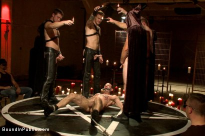 Photo number 5 from Horny Crowd Torments Bound Muscled Stud for BIP's Pre-Halloween Party shot for Bound in Public on Kink.com. Featuring Christian Wilde, Jason Miller, Connor Maguire and Big Red in hardcore BDSM & Fetish porn.