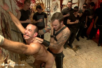 Photo number 5 from Muscled stud with a big dick cattle prodded and gang fucked  shot for Bound in Public on Kink.com. Featuring Christian Wilde, Jason Miller, Connor Maguire and Big Red in hardcore BDSM & Fetish porn.