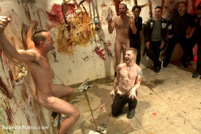 Photo number 11 from Muscled stud with a big dick cattle prodded and gang fucked  shot for Bound in Public on Kink.com. Featuring Christian Wilde, Jason Miller, Connor Maguire and Big Red in hardcore BDSM & Fetish porn.