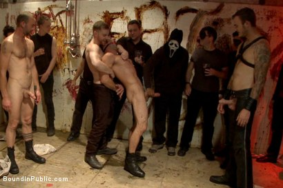 Photo number 1 from Muscled stud with a big dick cattle prodded and gang fucked  shot for Bound in Public on Kink.com. Featuring Christian Wilde, Jason Miller, Connor Maguire and Big Red in hardcore BDSM & Fetish porn.