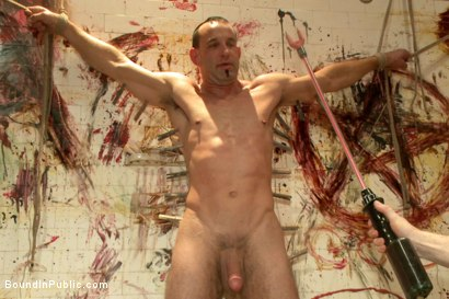 Photo number 10 from Muscled stud with a big dick cattle prodded and gang fucked  shot for Bound in Public on Kink.com. Featuring Christian Wilde, Jason Miller, Connor Maguire and Big Red in hardcore BDSM & Fetish porn.