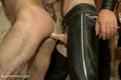 Photo number 6 from Muscled stud with a big dick cattle prodded and gang fucked  shot for Bound in Public on Kink.com. Featuring Christian Wilde, Jason Miller, Connor Maguire and Big Red in hardcore BDSM & Fetish porn.