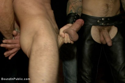 Photo number 2 from Muscled stud with a big dick cattle prodded and gang fucked  shot for Bound in Public on Kink.com. Featuring Christian Wilde, Jason Miller, Connor Maguire and Big Red in hardcore BDSM & Fetish porn.