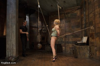 Photo number 4 from Huge Tit Blonde Bondage Slut Destroyed With Overwhelming Orgasms shot for Hogtied on Kink.com. Featuring Carissa Montgomery in hardcore BDSM & Fetish porn.