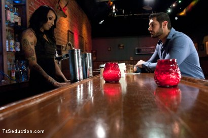 Photo number 2 from Bartender will Help you Forget Ur Troubles by Making you Suck Her Cock shot for TS Seduction on Kink.com. Featuring Honey FoXXX and Marcus Ruhl in hardcore BDSM & Fetish porn.