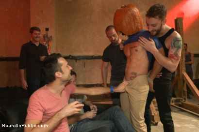 Photo number 2 from HAPPY HALLOWEEN! - Halloween Whore Gang Fucked by the Horny Crowd shot for Bound in Public on Kink.com. Featuring Ray Han, Adam Herst and Big Red in hardcore BDSM & Fetish porn.