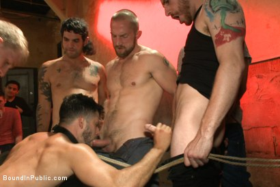 Photo number 14 from HAPPY HALLOWEEN! - Halloween Whore Gang Fucked by the Horny Crowd shot for Bound in Public on Kink.com. Featuring Ray Han, Adam Herst and Big Red in hardcore BDSM & Fetish porn.