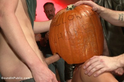 Photo number 1 from HAPPY HALLOWEEN! - Halloween Whore Gang Fucked by the Horny Crowd shot for Bound in Public on Kink.com. Featuring Ray Han, Adam Herst and Big Red in hardcore BDSM & Fetish porn.