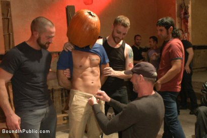 Photo number 13 from HAPPY HALLOWEEN! - Halloween Whore Gang Fucked by the Horny Crowd shot for Bound in Public on Kink.com. Featuring Ray Han, Adam Herst and Big Red in hardcore BDSM & Fetish porn.