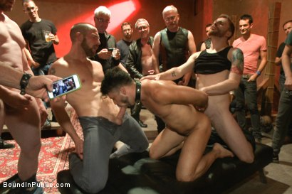 Photo number 5 from HAPPY HALLOWEEN! - Halloween Whore Gang Fucked by the Horny Crowd shot for Bound in Public on Kink.com. Featuring Ray Han, Adam Herst and Big Red in hardcore BDSM & Fetish porn.