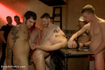 Photo number 9 from Bound hunk with an uncut cock gets gangfucked by a crowd of horny men shot for Bound in Public on Kink.com. Featuring Ray Han, Adam Herst and Big Red in hardcore BDSM & Fetish porn.