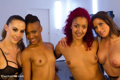 Photo number 5 from Daisy and Nikki - A Live Electrosex Competition!! Part 1 shot for Electro Sluts on Kink.com. Featuring Daisy Ducati, Chanel Preston, Ariel X and Nikki Darling in hardcore BDSM & Fetish porn.