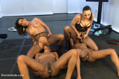 Photo number 7 from Nikki Darling vs. Daisy Ducati Live Show Part 2!! shot for Electro Sluts on Kink.com. Featuring Daisy Ducati, Chanel Preston, Ariel X and Nikki Darling in hardcore BDSM & Fetish porn.