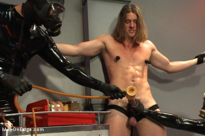 Photo number 13 from Straight stud with a big fat cock taken and milked by perverted aliens shot for Men On Edge on Kink.com. Featuring Kip Johnson in hardcore BDSM & Fetish porn.