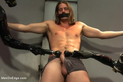 Photo number 2 from Straight stud with a big fat cock taken and milked by perverted aliens shot for Men On Edge on Kink.com. Featuring Kip Johnson in hardcore BDSM & Fetish porn.
