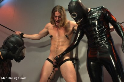 Photo number 3 from Straight stud with a big fat cock taken and milked by perverted aliens shot for Men On Edge on Kink.com. Featuring Kip Johnson in hardcore BDSM & Fetish porn.
