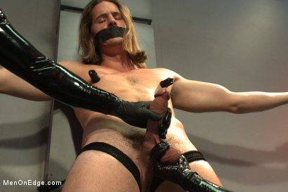Photo number 4 from Straight stud with a big fat cock taken and milked by perverted aliens shot for Men On Edge on Kink.com. Featuring Kip Johnson in hardcore BDSM & Fetish porn.