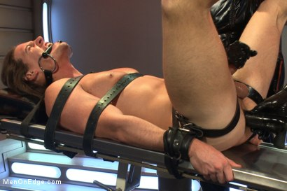 Photo number 5 from Straight stud with a big fat cock taken and milked by perverted aliens shot for Men On Edge on Kink.com. Featuring Kip Johnson in hardcore BDSM & Fetish porn.