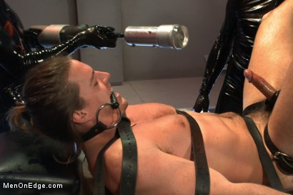 Photo number 6 from Straight stud with a big fat cock taken and milked by perverted aliens shot for Men On Edge on Kink.com. Featuring Kip Johnson in hardcore BDSM & Fetish porn.
