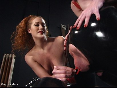 Photo number 3 from The Rubber Toy shot for Captive Male on Kink.com. Featuring Mz Berlin, Patrick Andraste and Sabrina Fox in hardcore BDSM & Fetish porn.