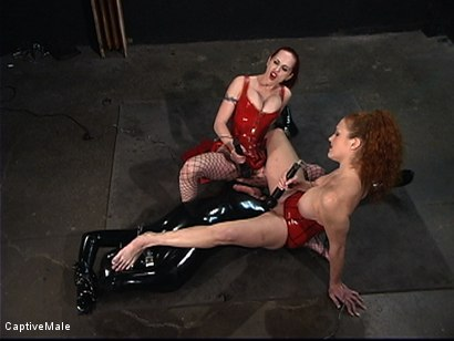 Photo number 5 from The Rubber Toy shot for Captive Male on Kink.com. Featuring Mz Berlin, Patrick Andraste and Sabrina Fox in hardcore BDSM & Fetish porn.