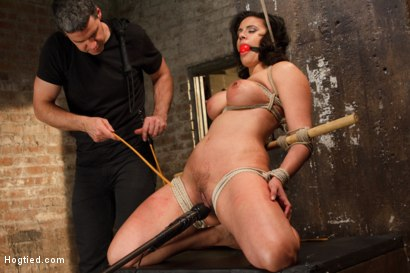 Photo number 16 from Busty MILF's hot little mouth gets her in trouble shot for Hogtied on Kink.com. Featuring Penny Barber in hardcore BDSM & Fetish porn.