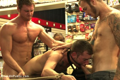 Photo number 9 from Bound stud whorred out at a local sex shop shot for Bound in Public on Kink.com. Featuring Tripp Townsend, Christian Wilde and Connor Maguire in hardcore BDSM & Fetish porn.