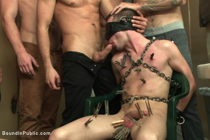 Photo number 5 from Bathroom pig whored out to the horny public shot for boundinpublic on Kink.com. Featuring Tripp Townsend, Christian Wilde and Connor Maguire in hardcore BDSM & Fetish porn.