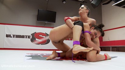 Photo number 15 from  Mouthy Brat Wrestlers go at it to impose Sexual Dominance on each other shot for Ultimate Surrender on Kink.com. Featuring Lyla Storm and Alexa Aimes in hardcore BDSM & Fetish porn.