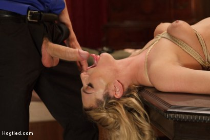 Photo number 7 from Fetish Fuck Maid Dahlia Sky - Formerly Bailey Blue - Tied, Face Fucked shot for Hogtied on Kink.com. Featuring Dahlia Sky and Owen Gray in hardcore BDSM & Fetish porn.