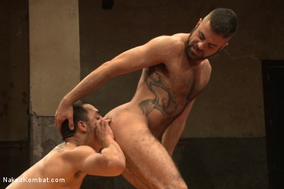 "Photo number 10 from Rico ""The Rocket-Launcher"" Romero vs Marcus ""The Iceman"" Isaacs shot for Naked Kombat on Kink.com. Featuring Rico Romero and Marcus Isaacs in hardcore BDSM & Fetish porn."