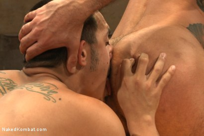 "Photo number 11 from Rico ""The Rocket-Launcher"" Romero vs Marcus ""The Iceman"" Isaacs shot for Naked Kombat on Kink.com. Featuring Rico Romero and Marcus Isaacs in hardcore BDSM & Fetish porn."