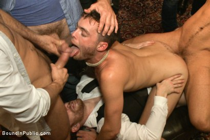Photo number 3 from Thankful For Cock shot for Bound in Public on Kink.com. Featuring Brandon Moore, Joey Rico, Hayden Richards and Jessie Colter in hardcore BDSM & Fetish porn.