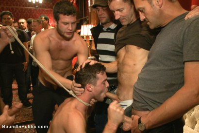 Photo number 7 from Thankful For Cock shot for Bound in Public on Kink.com. Featuring Brandon Moore, Joey Rico, Hayden Richards and Jessie Colter in hardcore BDSM & Fetish porn.