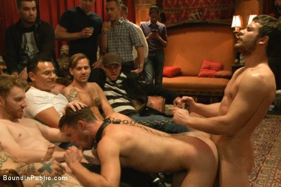 Photo number 11 from Horny party goers gangbang and fist a bound stud's ass shot for Bound in Public on Kink.com. Featuring Brandon Moore, Joey Rico, Hayden Richards and Jessie Colter in hardcore BDSM & Fetish porn.