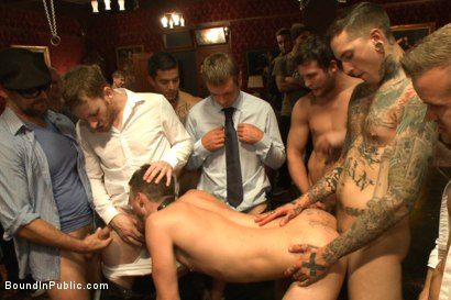 Photo number 3 from Horny party goers gangbang and fist a bound stud's ass shot for Bound in Public on Kink.com. Featuring Brandon Moore, Joey Rico, Hayden Richards and Jessie Colter in hardcore BDSM & Fetish porn.