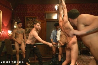 Photo number 9 from Horny party goers gangbang and fist a bound stud's ass shot for Bound in Public on Kink.com. Featuring Brandon Moore, Joey Rico, Hayden Richards and Jessie Colter in hardcore BDSM & Fetish porn.