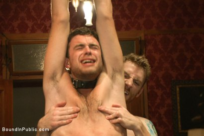 Photo number 8 from Horny party goers gangbang and fist a bound stud's ass shot for Bound in Public on Kink.com. Featuring Brandon Moore, Joey Rico, Hayden Richards and Jessie Colter in hardcore BDSM & Fetish porn.