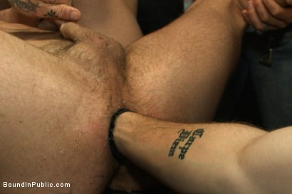Photo number 12 from Horny party goers gangbang and fist a bound stud's ass shot for Bound in Public on Kink.com. Featuring Brandon Moore, Joey Rico, Hayden Richards and Jessie Colter in hardcore BDSM & Fetish porn.