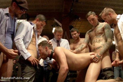 Photo number 5 from Horny party goers gangbang and fist a bound stud's ass shot for Bound in Public on Kink.com. Featuring Brandon Moore, Joey Rico, Hayden Richards and Jessie Colter in hardcore BDSM & Fetish porn.