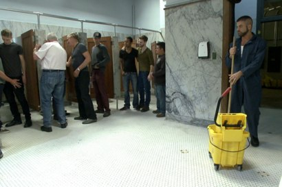 Photo number 1 from Pissed off janitor fucked in bondage by horny bathroom cruisers  shot for Bound in Public on Kink.com. Featuring Eli Hunter, Leo Forte, Marcus Isaacs and Big Red in hardcore BDSM & Fetish porn.