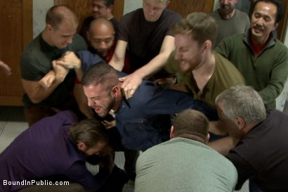 Photo number 2 from Pissed off janitor fucked in bondage by horny bathroom cruisers  shot for Bound in Public on Kink.com. Featuring Eli Hunter, Leo Forte, Marcus Isaacs and Big Red in hardcore BDSM & Fetish porn.