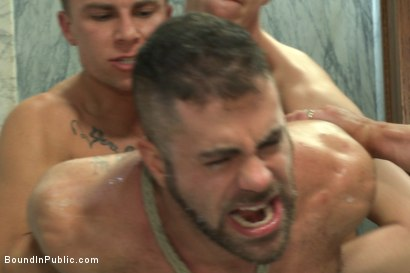 Photo number 14 from Pissed off janitor fucked in bondage by horny bathroom cruisers  shot for Bound in Public on Kink.com. Featuring Eli Hunter, Leo Forte, Marcus Isaacs and Big Red in hardcore BDSM & Fetish porn.