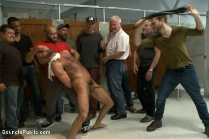Photo number 5 from Pissed off janitor fucked in bondage by horny bathroom cruisers  shot for Bound in Public on Kink.com. Featuring Eli Hunter, Leo Forte, Marcus Isaacs and Big Red in hardcore BDSM & Fetish porn.