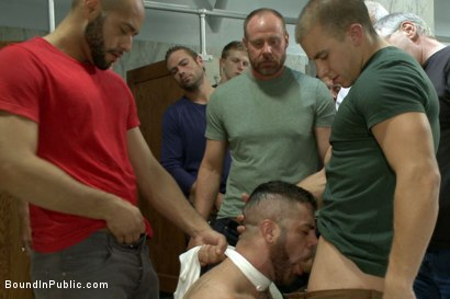 Photo number 4 from Pissed off janitor fucked in bondage by horny bathroom cruisers  shot for Bound in Public on Kink.com. Featuring Eli Hunter, Leo Forte, Marcus Isaacs and Big Red in hardcore BDSM & Fetish porn.