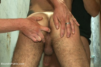 Photo number 7 from Pissed off janitor fucked in bondage by horny bathroom cruisers  shot for Bound in Public on Kink.com. Featuring Eli Hunter, Leo Forte, Marcus Isaacs and Big Red in hardcore BDSM & Fetish porn.